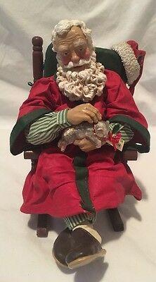 Clothtique Possible Dreams Santa In Rocker Kitty And Slippers 1992. Without Box