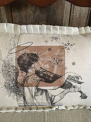 Angel On French Ticking Christmas Pillow Cover W/Linen Pleat