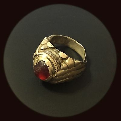 1600 AD Eastern Luristan, Islamic Antique Silver Ring With Red Aqeeq Stone.