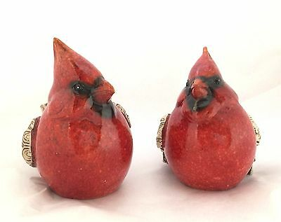 Pair Country Cardinal Figurines Red Speckled w/Twig Like Wings Tails Large
