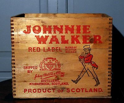 Vintage Johnny Walker Red Scotch Whiskey Wooden Crate Box Antique Advertising