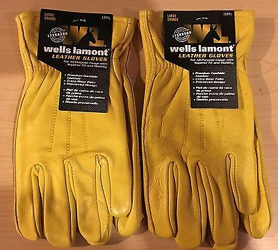 2 New Wells Lamont Premium Leather Work Gloves Mens Size Large