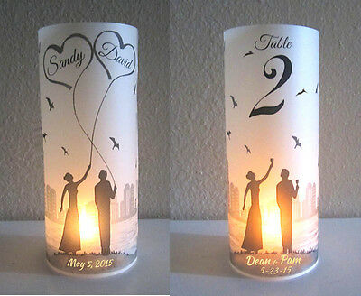 15 Personalized Wedding Centerpiece Luminary Citiscape Table Number Decoration