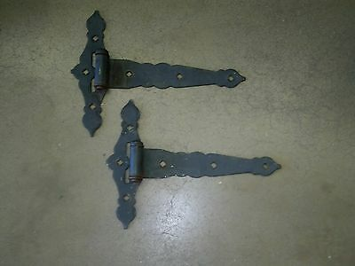 "2 Vintage Wrought Iron Barn / Gate Strap Hinges, 15""  by 11"""