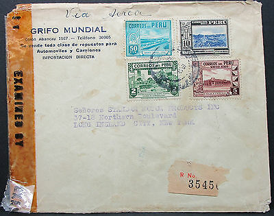 Peru Examined Cover to New York USA Registered Letter Zensur R-Brief (L-586