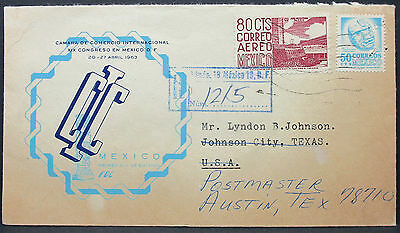 Mexico Congreso Cover 80 Cts Aereo Registered Letter Mexiko USA Brief (L-595