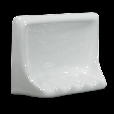 "GLOSS WHITE PORCELAIN SOAP DISH FOR TUB/SHOWER, TILE-IN, 6.5"" x 5"" x 2.5"", NEW!"