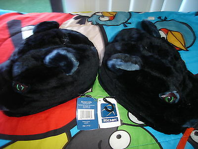 Black Cat with Green Eyes Plush House Premium Slippers by RICSEN Size Small