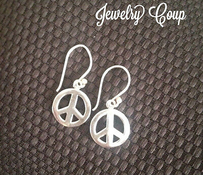 .925 PEACE SIGN Sterling Silver Dangle French Wire Earrings