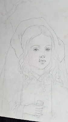 Antique 1800-1899 original British pencil drawing painting Young Girl Cape Hood