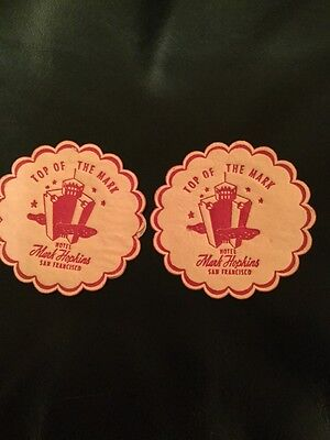 2 Vintage Top Of The Mark Coasters