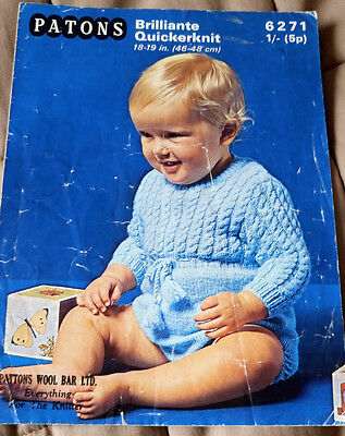 Baby/Toddler Playsuit vintage knitting pattern 18-19 inch