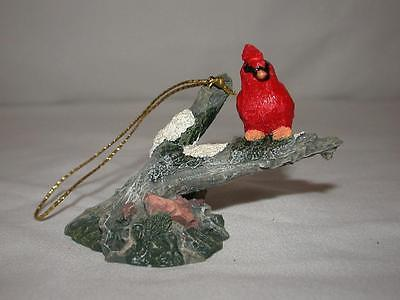 Ceramic Cardinal Sitting On Branch Christmas Tree Ornament