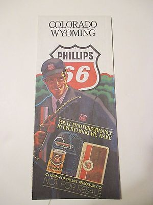 1980'S PHILLIPS 66 COLORADO WYOMING Oil Gas Service Station Road Map