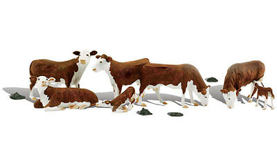 Model Train HO Accessory - Woodland Scenics HEREFORD CATTLE #A1843