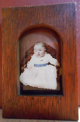 Antique Tinted Baby Ambrotype Tombstone Shaped Multi Layer Photo On Glass