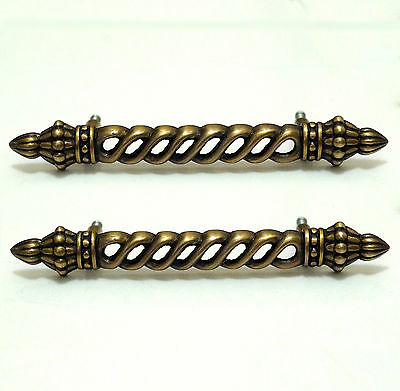 "5.90"" Lot of 2 pcs Vintage RETRO Pole Solid Brass Cabinet Drawer Handle Pulls"