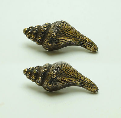 "2.91"" inches Lot of 2 pcs Vintage Clam Shell Solid Brass Cabinet Handle Pulls"