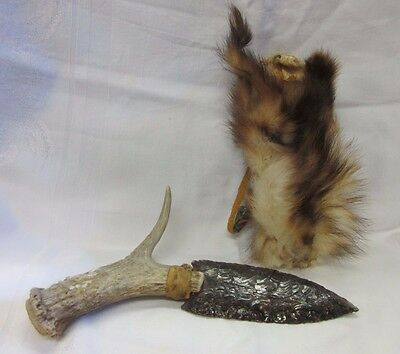 Flint Knife with Deer Antler Handle Knapping Guard Weasel Sheath Obsidian