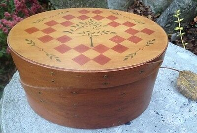 Checkerboard Covered Oval Pantry Box ~ Shaker Tree of LIfe ~ Knitting or Sewing