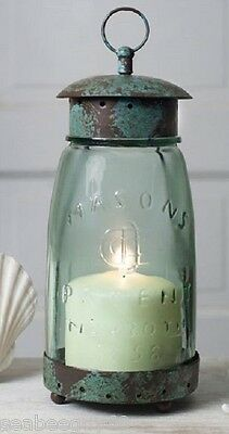 Mason Jar Candle Holder Mason Jar Lantern Hurricane Lamp RUSTIC metal screw top