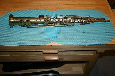 RARE FRANK HOLTEN RUDY WIEDOEFT 1920s GOLD PLATED SOPRANO SAXOPHONE