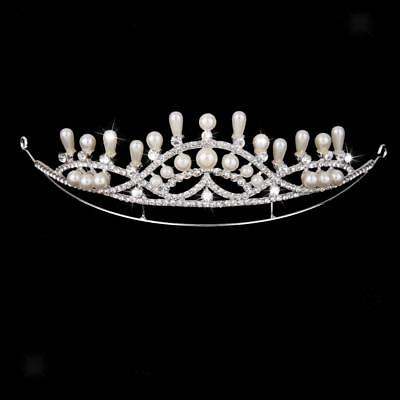 Wedding Bridal/Bridesmaid Floral Rhinestone Pearl Tiara Crown Hair Band