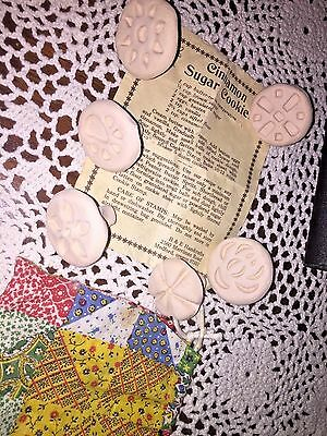 Set Of 6 CLAY SUGAR Cookie Stamps 1994 With Recipe Christmas/ B & E HANDCRAFTS