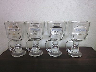 New - Set of 4 Patron XO Café Coffee Mug Cups Glasses Stemmed with handles