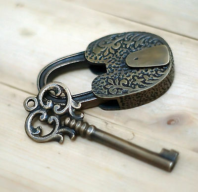 Antique Long Neck Flowers Carved PADLOCK with BIG SKELETON Key Solid Brass Lock
