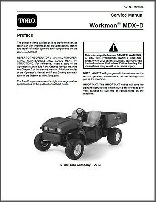 Toro Workman MDX-D Utility Vehicle with Kubota Diesel Engine Service Manual CD