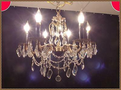 Vintage Antique Ornate Brass & Gorgeous Leaded Crystals Chandelier  6 Light