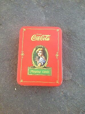 Vintage Drink Coca Cola Playing Cards in Tin + Hinged Lid 2 Sealed Decks 1980