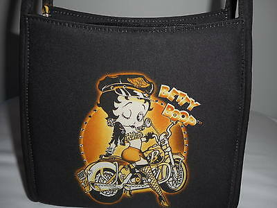 2005 Betty Boop Biker Shoulder Bag/purse With Clear Rhinestons One Side Of Bag
