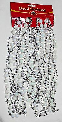 3 strands Silver Faceted & AB White Round 8 ft Twisted Strand Garland Beads NEW