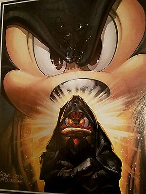 STAR WARS Mickey Wan v Duck Maul Art SIGNED GREG McCULLOUGH Mickey Mouse Disney