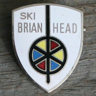 BRIAN HEAD Vintage Ski Pin UTAH Skiing UT MTB Travel FREE SHIPPING White