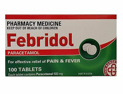 ツ Febridol Paracetamol Pain Killer 500Mg Ache Relief Panadol 100 Tablets