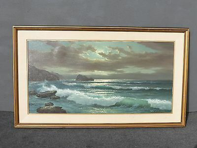Vtg ANTON GUTKNECHT Ocean Scene Wall Mantle Oil on Canvas PICTURE Painting 30x57