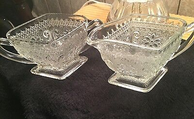 Indiana Glass Sandwich crystal Creamer and Sugar Bowl Diamond shape, Excellent