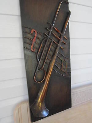 """Wall hanging l 12""""X 30""""tall musical instrument deep brown with copper highlights"""