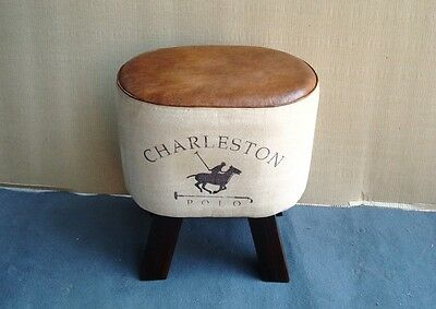 Leather & Canvas Stool / Footstool / Sidestool Chesterfield style Buttoned Seat