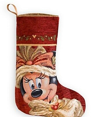 New Disney Parks Minnie Mouse Victorian  Christmas Stocking
