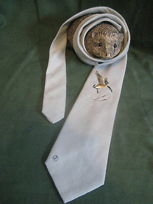 """CUSTOM TAILORED vtg 50s 60s neck TIE hand painted Canadian Goose gray short 55"""""""