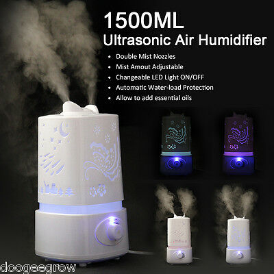 Excelvan 1.5L LED Essential Oil Ultrasonic Atomizer Diffuser Air Mist Humidifier