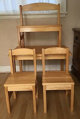 Childrens Wooden Table 2x Chairs & Bench
