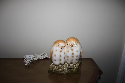 Vintage Irice Owl Night Lightlamp ( Pair Owls On A Log)  Adorable!!