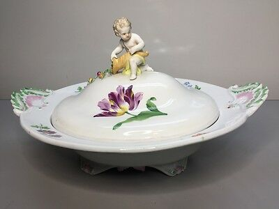 Meissen Porcelain Tureen Covered Serving Bowl Floral Hand Painted