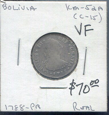 Bolivia - Beautiful Charles Iii Silver Real,1788Pts Pr