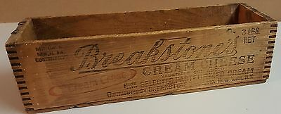 1 Vintage Breakstone's Cream Cheese Wood Box Crate Graphics Advertising New York